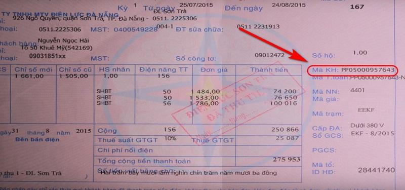 hóa đơn tiền điện đà nẵng