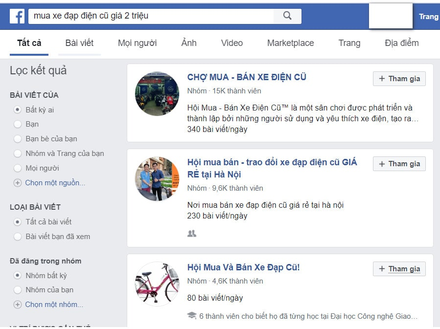 Tìm kiếm trên facebook